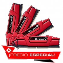 Memoria RAM G.Skill Ripjaws V 64GB 4X16GB DDR4 2666MHZ Roja - F4-2666C15Q-64GVR - Precio Especial